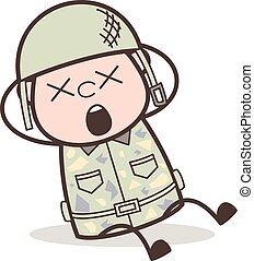 Cartoon Army Man with Dizzy Face Vector Illustration