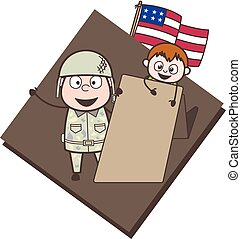 Cartoon Army Man with Little Boy and Message Banner Vector Illustration