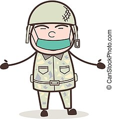 Cartoon Army Man with Pollution Face Mask Vector Illustration