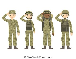 Cartoon army people - US Army soldiers, men and woman, in...