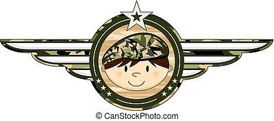 Cartoon Army Soldier Badge