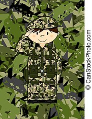 Cartoon Army Soldier Saluting
