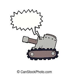 cartoon army tank with speech bubble