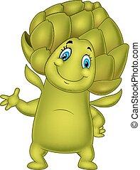 Cartoon artichoke waving hand