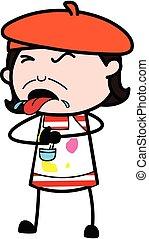 Cartoon Artist Choking