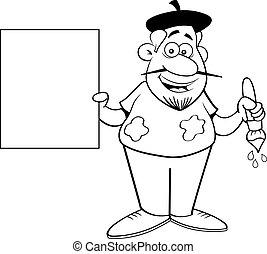 Cartoon artist holding a sign.