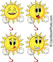 Cartoon artist sun painting.