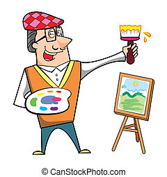 Cartoon Artist with Paintbrush and Canvas Easel
