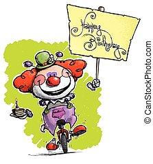 cartoon-artistic, abbildung, von, a, clown, auf, unicycle, besitz, a, alles gute geburtstag, plakat
