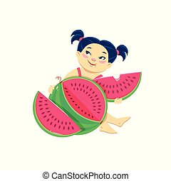 cartoon asian girl eating watermelon. Summer vector illustration