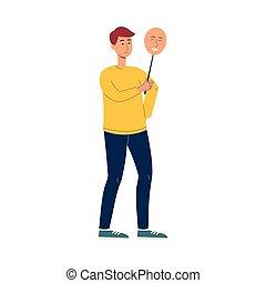 Cartoon Asian man holding happy mask over sad face - isolated vector illustration