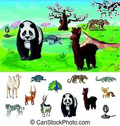 Cartoon Asian Wildlife Concept