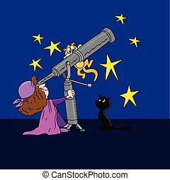 Cartoon astrologer looking at the star positions in the sky with a telescope at night time vector illustration