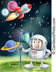 Cartoon Astronaut and Rocket