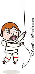 Cartoon Astronaut Climbing Rope in Training Vector Illustration
