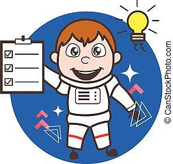 Cartoon Astronaut Got an Idea and Showing a Checklist Vector Illustration