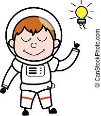 Cartoon Astronaut Got an idea