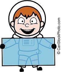 Cartoon Astronaut holding a glass banner