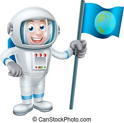 Cartoon Astronaut Holding Flag