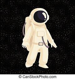 Cartoon astronaut in open cosmos vector illustration