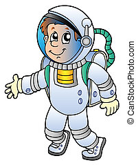 Cartoon astronaut on white background - vector illustration.
