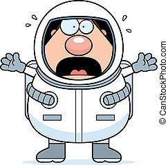 A cartoon astronaut scared and panicking.