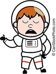 Cartoon Astronaut Pensive
