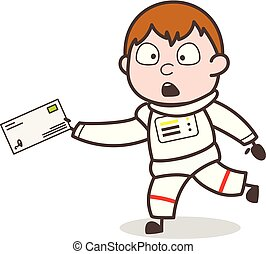 Cartoon Astronaut Running to Deliver the Letter Vector Illustration