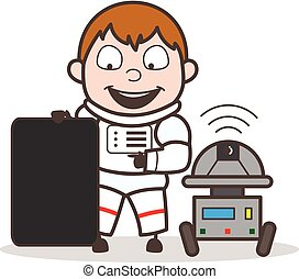 Cartoon Astronaut Showing a Blank Board with Robot Vector Illustration