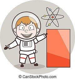 Cartoon Astronaut Showing Banner Vector Illustration