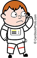 Cartoon Astronaut thinking in Confusion