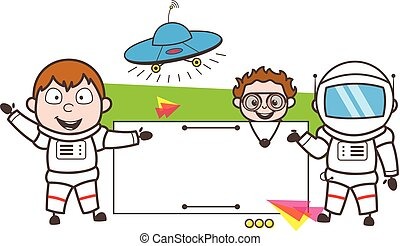 Cartoon Astronaut with Banner, UFO and Kid Vector Illustration