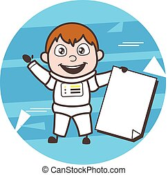Cartoon Astronaut with Blank Paper Banner Vector Illustration