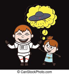 Cartoon Astronaut with Cute Kid Girl and UFO Vector Illustration