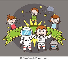 Cartoon Astronaut with Kids Celebrating Concept Vector Illustration