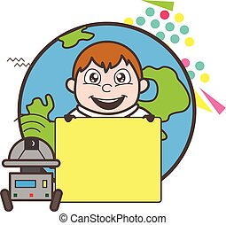 Cartoon Astronaut with Robot and Blank Board Vector Illustration