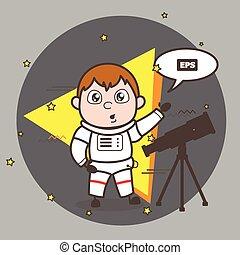 Cartoon Astronaut with Telescope Vector Illustration