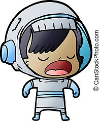 cartoon astronaut woman explaining