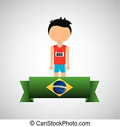 cartoon athletics player brazilian label