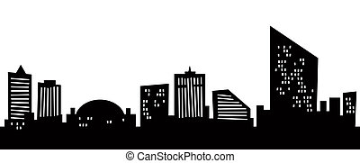 Cartoon Atlantic City - Cartoon skyline silhouette of the...