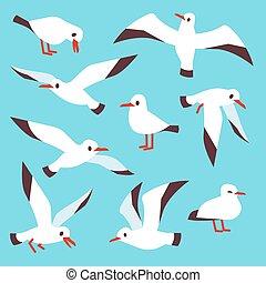 Cartoon atlantic seabird, seagulls flying in blue sky vector...