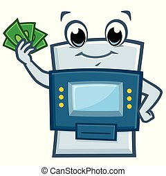 Cartoon ATM Machine - Vector illustration of a funny ATM...