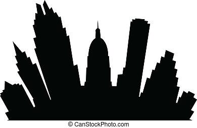 A cartoon skyline silhouette of the city of Austin, Texas, USA.
