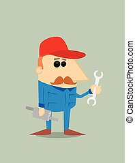 Cartoon auto mechanic