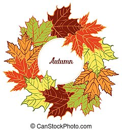 cartoon autumn leaf vector wreath