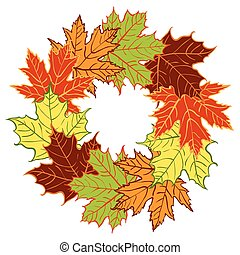 cartoon autumn leaf vector wreath