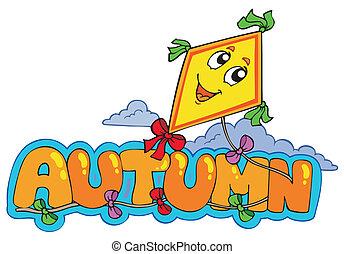 Cartoon autumn sign