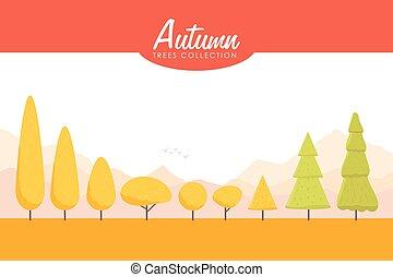 Cartoon Autumn trees set. Low poly Vector illustration
