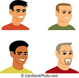 Clipart Cartoon Avatar Portrait of 4 man, from shoulders up. This illustration headshots feature man of varied ethnicities. Makes a great icon on profiles and other applications.