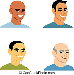 Four men cartoon heads, isolated, in varied ethnicities, including african, hispanic, caucasian and asian. They make great avatars or profile icons